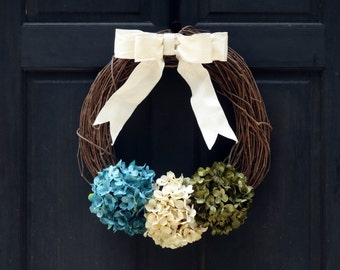 Rustic Summer Wreath for Front Door, Wreath for Summer, Grapevine Wreath for Spring, Hydrangea Wreath, Spring Wreath, Summer Door Wreath