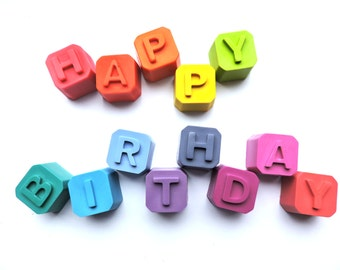 Diddy Happy Birthday Cube Crayons, 13 Letter Cube Crayons