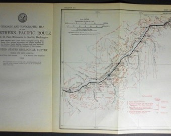 1915 Railroad Map: Joppa, Clermont, Olmer, Miles City, Tusler, Zero, Kamm, Fallon, Montana MT. Northern Pacific Rail Antique. Map Vintage