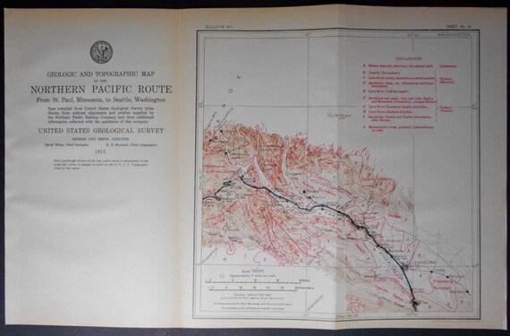 1915 Washington Railroad MapEllensburg Clealum Whittier