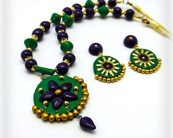 Traditional Blue and green terracotta necklace and earring set