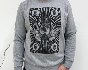 MENS sweater, Moth shirt, Palmistry hand, mystical art, tarot shirt, men's sweatshirt, fortune telling,  steampunk clothing, occult clothing