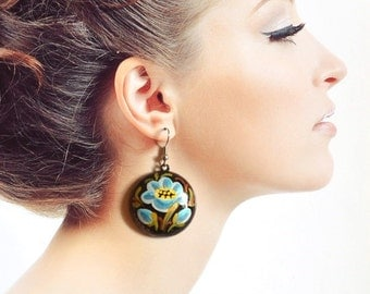 wooden earrings Hand Painted Jewelry Blue black Handmade earrings painting|on|wood Round earrings womens Gift|for|her Blue flowers ethnic