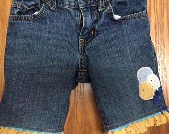 Upcycled Girls Blue Jean Shorts