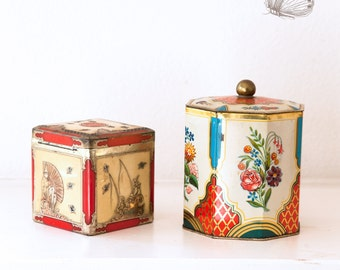 2 Vintage Asian Style Tin Boxes - Made in England - Free Shipping Within the USA