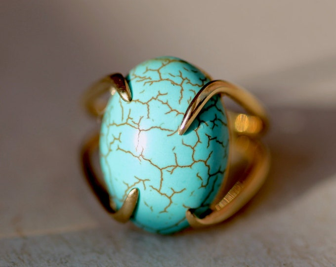 Turquoise ring Gold turquoise ring Blue stone ring Natural stone ring Silver turquoise ring Natural stone Gift idea