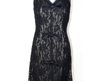 1950s-1960s- Cocktail Dress Saks Fifth Ave. Black Lace, Vintage