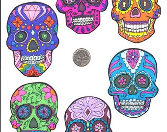 Handmade Set Of 6 Bold Coloured Sugar Skull Magnets