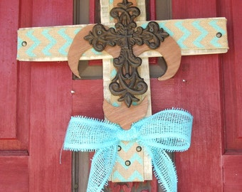 Burlap wood Cross, Decorative wooden cross, wall cross, rustic cross, Fleur de lis, pallet wood, burlap cross, metal cross