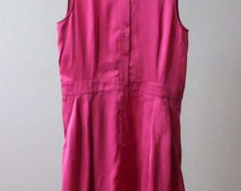 Upcyled, Fucshia Button-Up Dress Featuring Hand Painted Floral Pattern