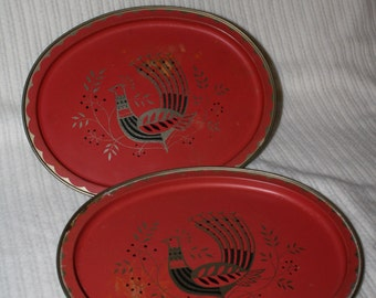 Vintage Rooster/Hen Red* serving Trays (Thanksgiving)