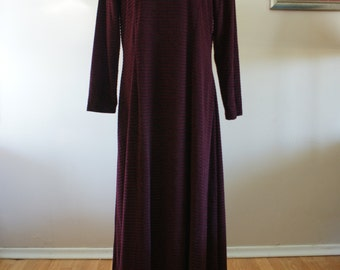 Burgundy Velveteen Velour Burnout Long Sleeve A Line Full Length 90's Dress Plus Size by Jessie Made in Canada Size 18