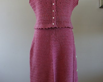 Vintage 50s Pink Knit Cropped Tank and Skirt Set Handmade Size Medium  - M-635
