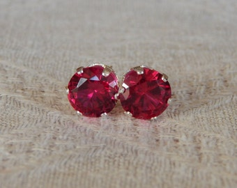 Ruby 8mm Stud Earrings, Ruby Studs,  Ruby Statement Earrings, Ruby Posts, Ruby Post Earrings, July Birthstone Earrings, Lab Created Ruby