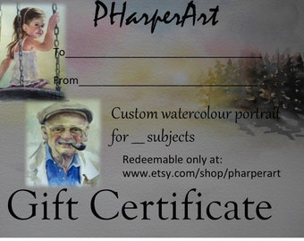 Gift Certificate for Custom watercolour Portrait