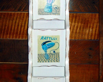 Shabby Chic light blue distressed Kitchen Letter Mail Napkin Holder decor with vintage decals