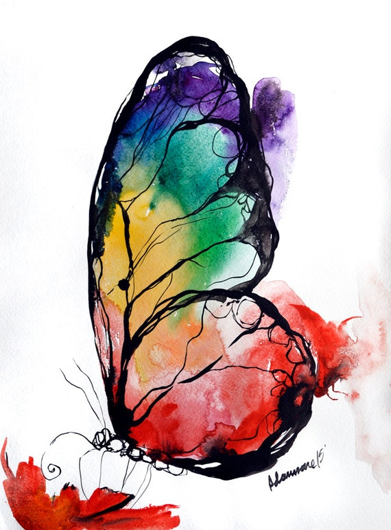 rainbow butterfly original watercolor painting colorful On weird painting ideas