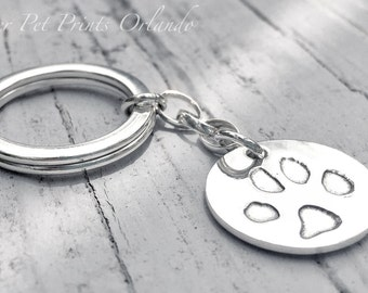 Your Dog's ACTUAL Paw Print Keychain - Silver Keyring - Dog print keychain - Personalized accessories - Cat print - Pet Memorial - pet loss