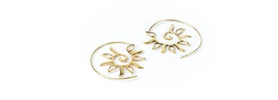 Spiral Brass Sun design Earrings handmade, Tribal Earrings, Nickel Free, Indian Jewellery, Gift boxed,Free UK postage BR5