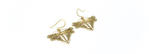 Butterfly Brass Earrings Insect Jewellery Free UK Delivery Gift Boxed BG5