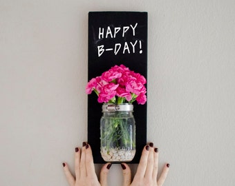 Chalk board Mason Jar Wall Planter - Indoor / outdoor herb garden