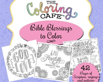 The Coloring Cafe™ Bible Blessings to Color-Scripture Coloring Book for Grown-Ups Adult Coloring Book