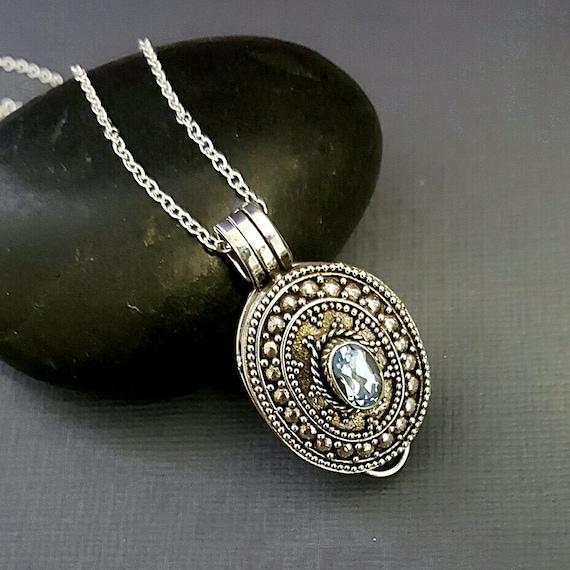 stash necklace blue topaz secret box necklace by