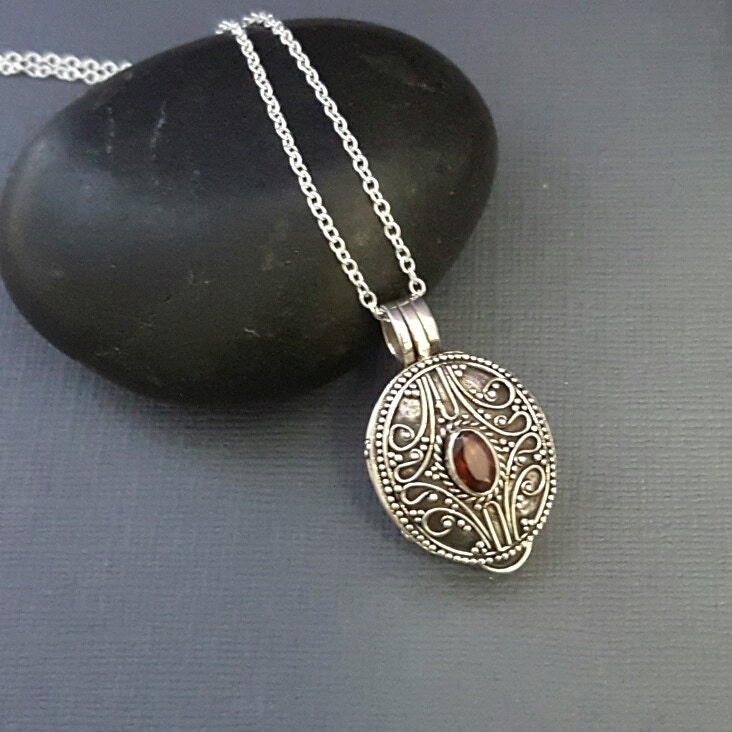 stash necklace garnet prayer box necklace sterling silver