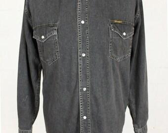 Wrangler Washed Black Denim Shirt Men's Medium