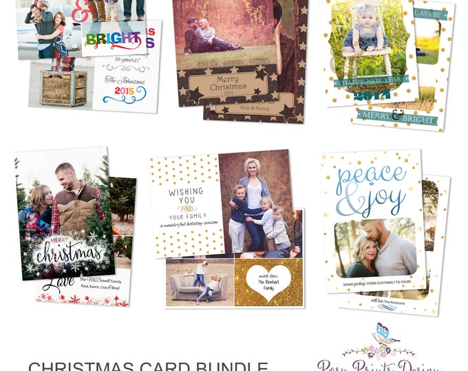 Christmas Card Bundle of Photoshop Templates - 5x7 Digital Photography Photoshop Files - Templates for Photographers - CCB02