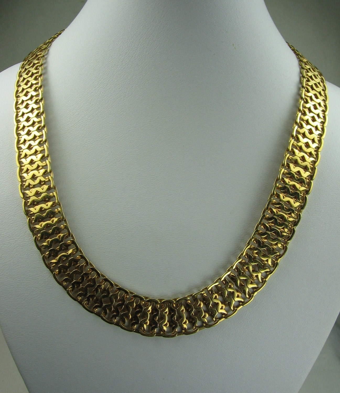 monet gold tone link necklace chain by vintagesparkleybits