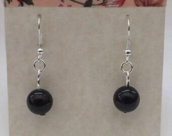Black banded agate earrings