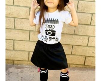 Girls Birthday Shirt, Oh Snap Its My Birthday, Funny Shirt, Toddler Shirt, Youth Shirt, Camera Shirt, Girls Clothing, Birthday Gift