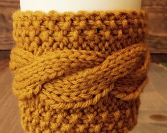 Mustard Coffee Sweater - Knit Cabled Coffee Cozy – Yellow Coffee Cozy– Cable Coffee Cozy – Knit Coffee Cozy