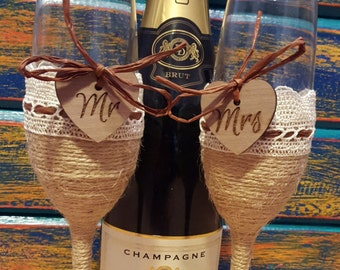 Sale 25% off Mr.and Mrs.Rustic Wedding Toasting Glasses  Toasting Flutes Wedding Champagne Flutes , burlap. hearts