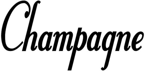 Champagne Wine Words Vinyl Wall Decal Sticker Many Colors to Choose from - Kitchen Removable Custom Easy to Install Wall Art