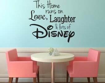 Disney Wall Decal, Disney Wall Sticker, Family Wall Decal, Run Disney, Disney Vinyl Wall Decal, This Home Runs on Disney, Disney Sticker