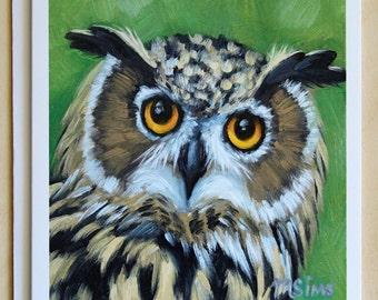 Owl - Great horned owl - bird notecard - bird of prey - greeting cards - paper goods - thank you notes