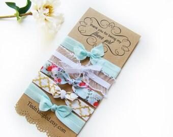 Flower Girl Gift, FOE, Hair Tie Set, Flower Girls, Bridesmaid Gift, For The Bride, Wedding Favors, Blue Hair Ties, Elastic Hair Ties