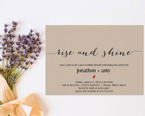 After The Wedding Party Invitations: Newlywed Brunch Invitation Printable Post-Wedding Brunch
