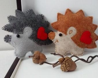 Felt Hedgehog Ornament/ Woodland Animals/ Party Decor/ Christmas Ornaments/ Spring Decor/ Handmade Ornaments