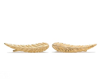 Yellow Gold Ear Cuff Feather Ear Climber Pin Earrings Boho Jewelry - FES018 T2