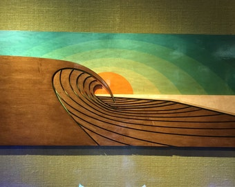 Surf Sculpture | Wood Wall Art | SUNSET PEAKS