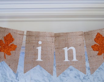 Fall Burlap Banner, Fall in Love Banner, Fall Wedding Decor, Fall Decor, Fall Bridal Shower Banner, Fall Wedding Photo Prop, B125