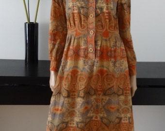 Robe vintage JACQUES ESTEREL taille 38 / Dagger collar /Seventies/70'S size uk 10 / us 6