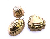 Set of 3 vintage jello molds, brass metal baking tin, mini bake pan, jello tin cookie cutter retro kitchen, gelatin mold heart pineapple