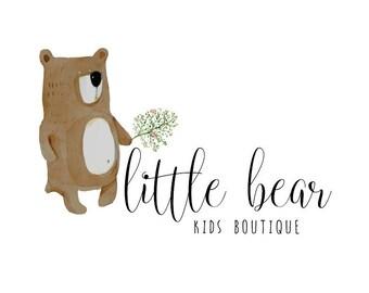 Kids Premade Logo Design, Watercolor Bear Logo Design for your Business, Premade Kids logo, Kids Boutique Branding and Logo (A6)