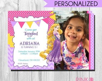 Tangled Rapunzel Birthday Invitation