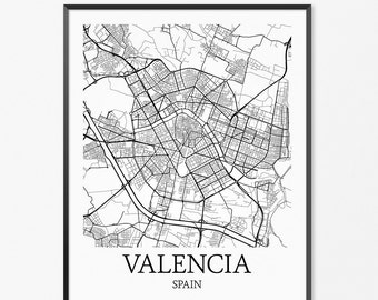 Valencia Map Art Print, Valencia Poster Map of Valencia Decor, Valencia City Map Art, Valencia Gift, Valencia Spain Art Poster