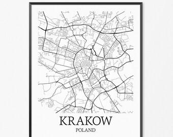 Kraków Map Art Print, Kraków Poster Map of Kraków Decor, Kraków City Map Art, Kraków Gift, Kraków Poland Art Poster